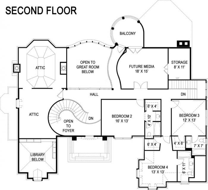 Luxury European Castle House Plan Second Floor. I love the