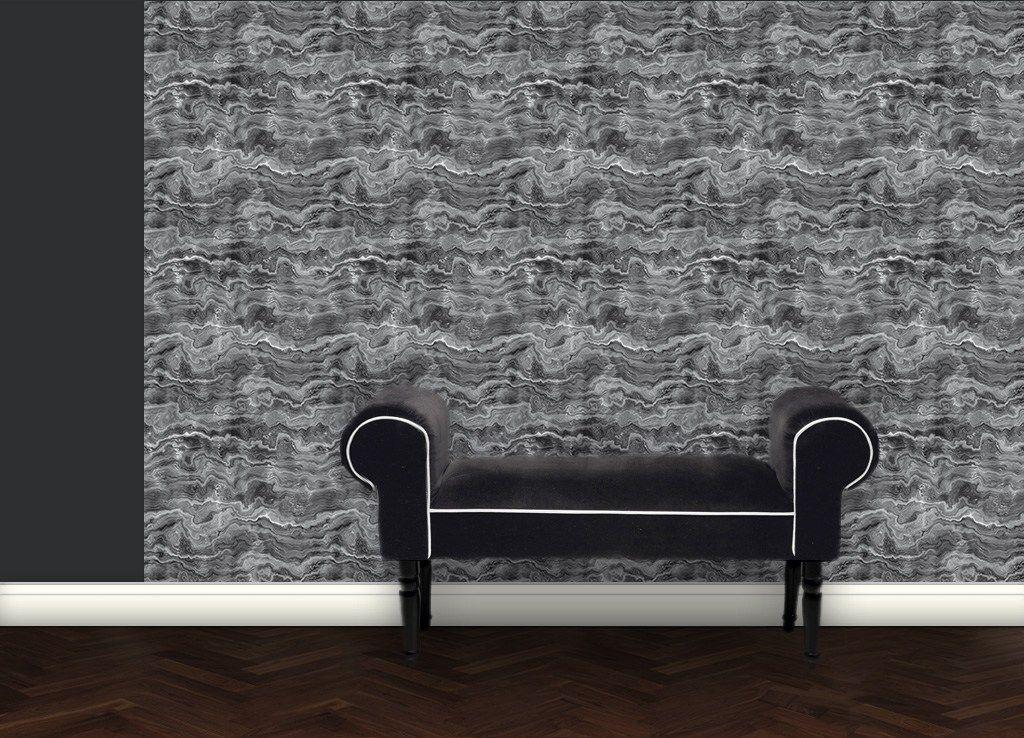 Edel graue streifen marmor tapete wohnzimmer esszim for Graue tapete wohnzimmer