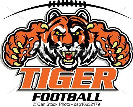 vector tiger football design stock illustration royalty free rh pinterest com Tiger Paw Football Logo memphis tigers football logos