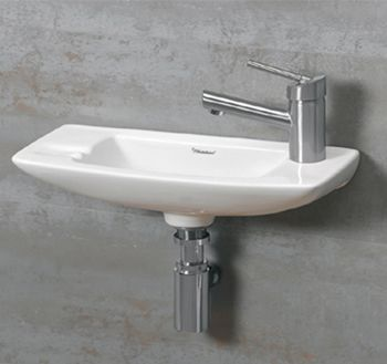 Whitehaus WH1103RWH Jem Small Wall Mount Lavatory Sink With Faucet Drilling  On Right   White Small Sink For The Little Bathroom