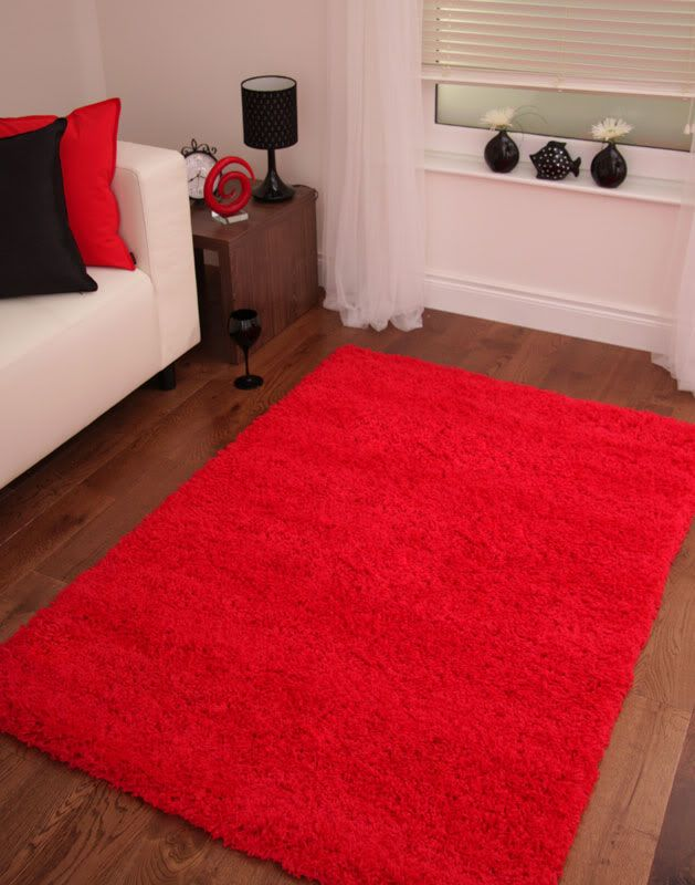 Bright Post Box Red Gy Rug Large Small Floor Mat Pile Rugs Uk Stockholm