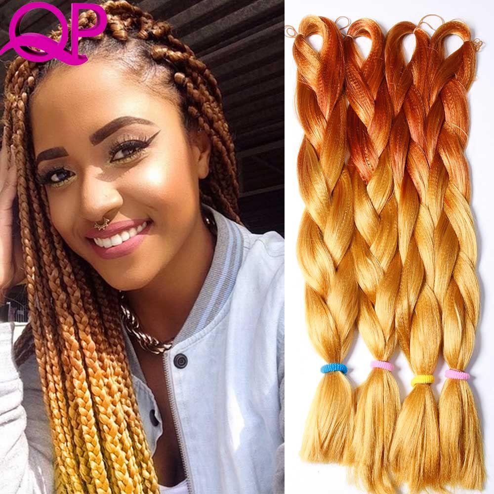 Ombre Kanekalon Braiding Hair 24 100g 1 Twist Two Tone Jumbo Braid