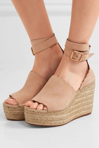 922330cfe46 Wedge heel measures approximately 110mm  4.5 inches with a 50mm  2 inch  platform Beige suede Buckle-fastening ankle strap Made in Spain
