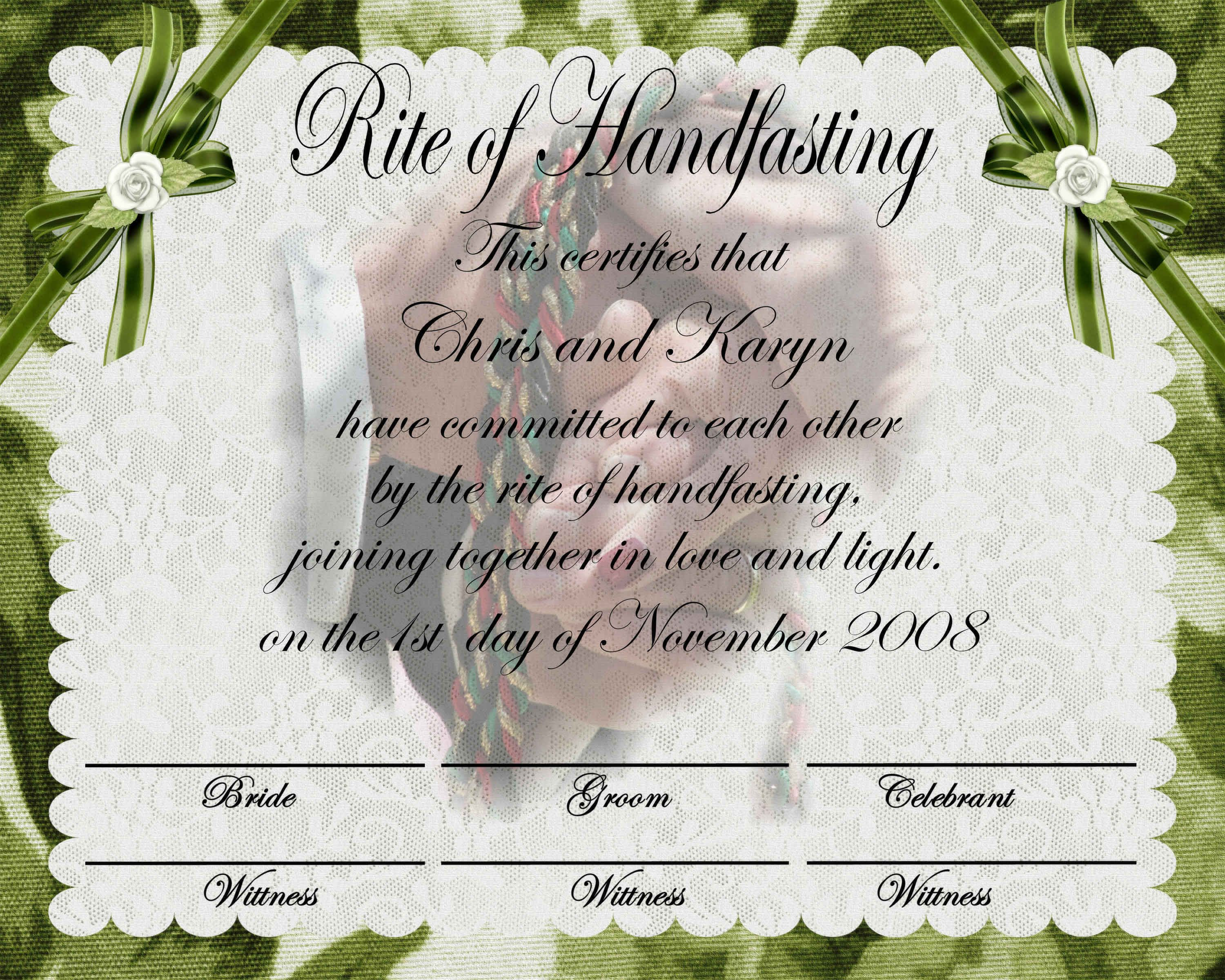 Handfasting Certificate Free - Favorite So Far