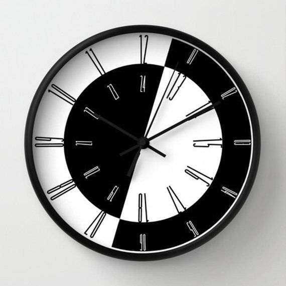 Wall Clock With Numbers Black And White Home Decor Etsy In 2020 Wall Clock Numbers Wall Clock Contemporary Wall Clock