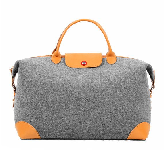TOPHOME Handbag Ladies Women Man bag Wool Felt with Genuine Leather Holder  Lock Work Tote Top-Handle for travel hiking long time outdoor 019b327331c2f