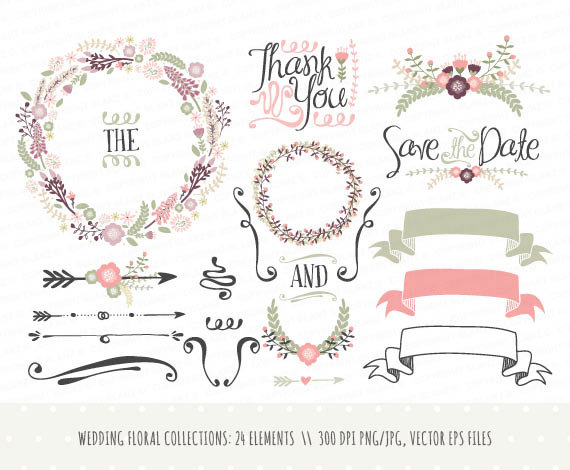 Wedding Invitation Clipart Collection Hand Drawn Wreaths Flowers