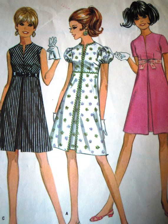 Inverted pleat A Line mini dress sewing pattern Vintage 1960s by ...