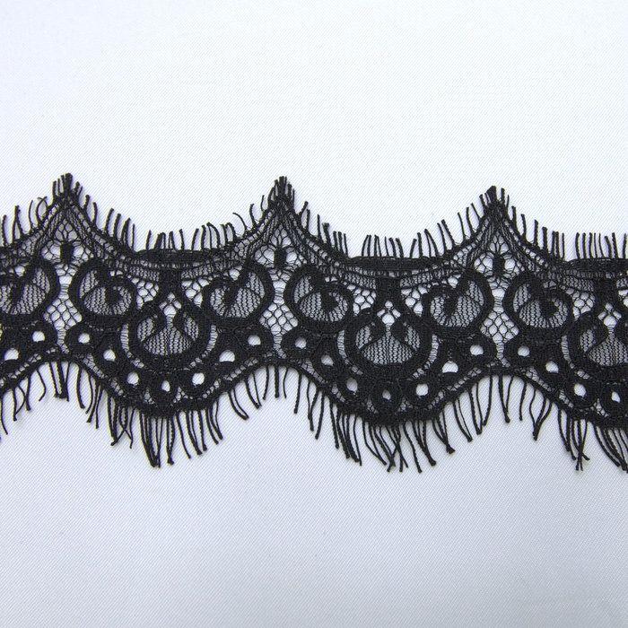 7777a636b Tecido bico de renda chantilly preto 7 cm - Maximus Tecidos | Loja Online