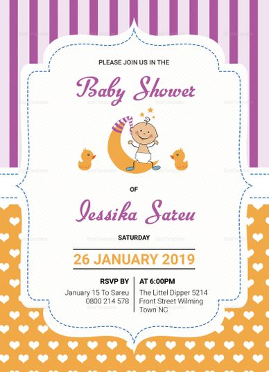 Colorful Baby Shower Invitation Card Template Invitation Card