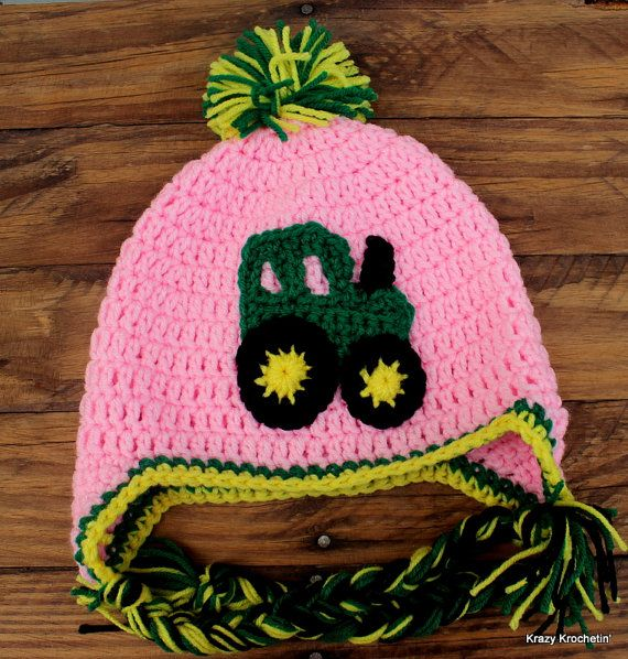 Crochet Pink Earflap Hat with Green Tractor  by KrazyKrochetin