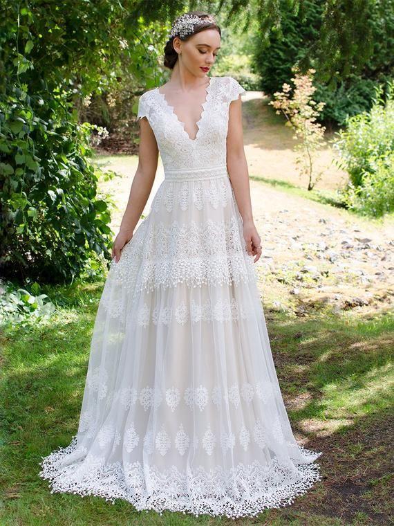 Photo of boho wedding dress lace wedding dress cap sleeve bohemian wedding dress lace wedding dresses boho wedding dresses  lace wedding gown