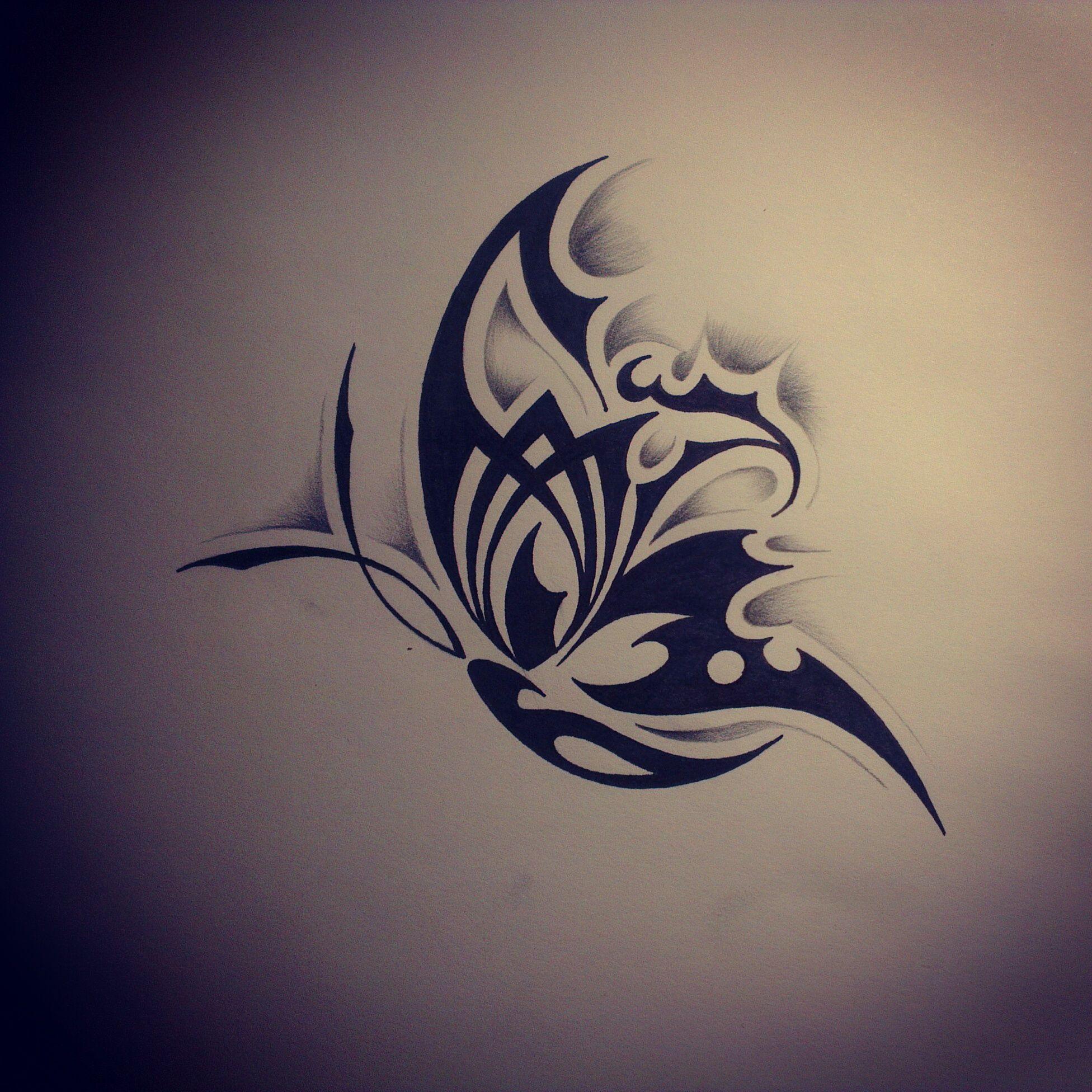 Joli tatouage papillon noir design dessins pinterest - Tribal papillon ...