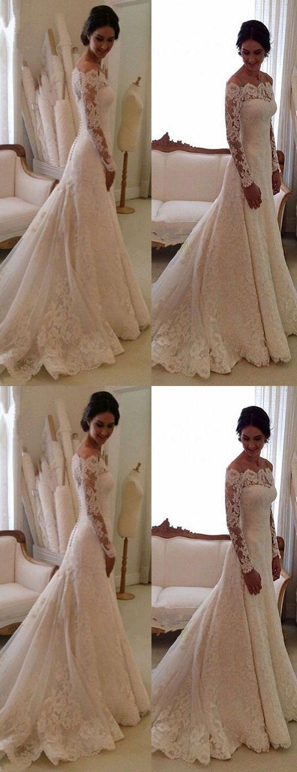 Elegant Bateau Long Sleeves Wedding Dresses Fashion Bodycon Sheath Lace Bride Dress Sweep Train Wedding Dresses Lace Wedding Dress Long Sleeve Wedding Dresses