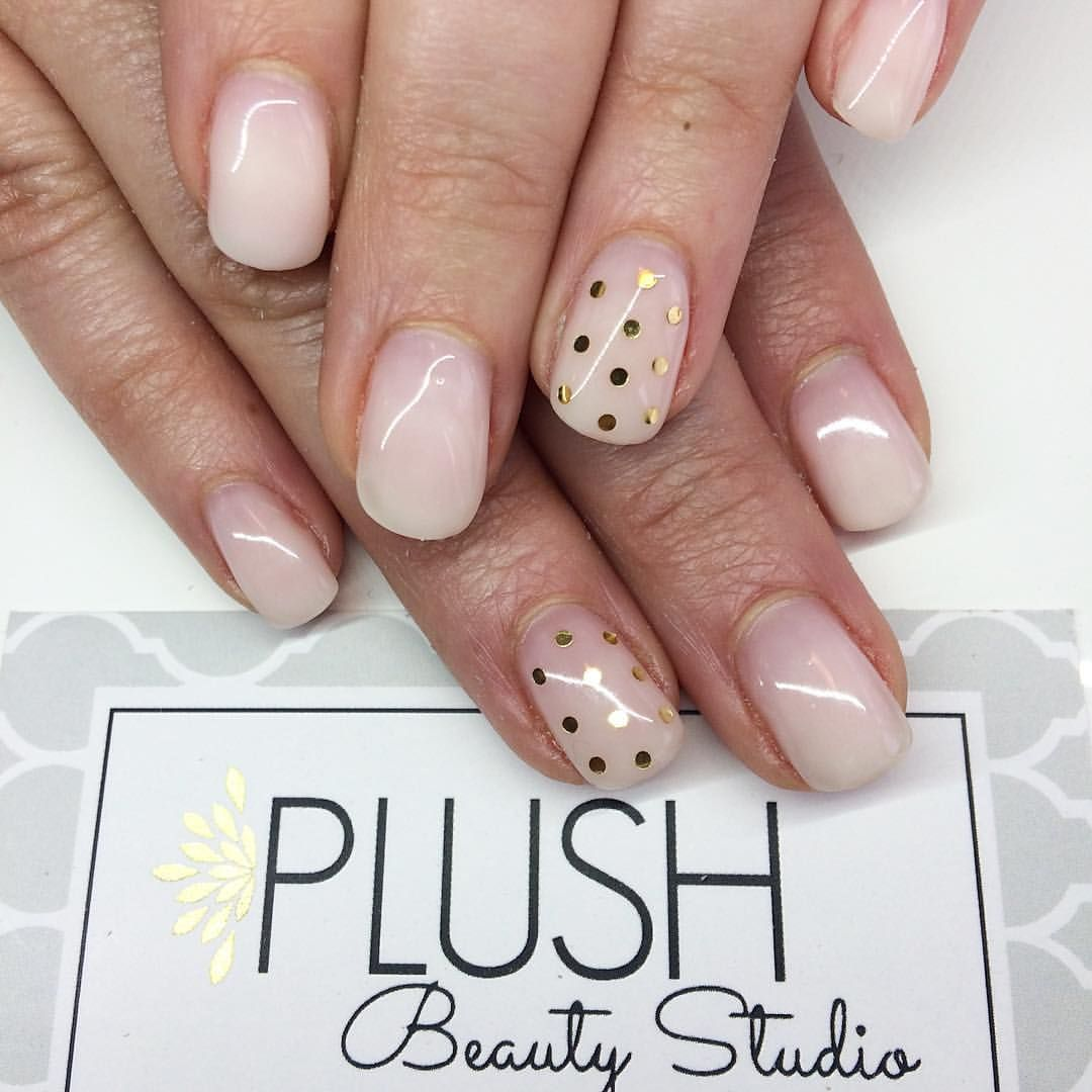 Natural French Fade gel nails with gold polka dots Simple, short and ...