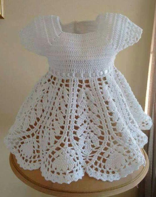 Tığ Işi Beyaz Bebek Elbisesi örneği Bebek Pinterest Häkeln