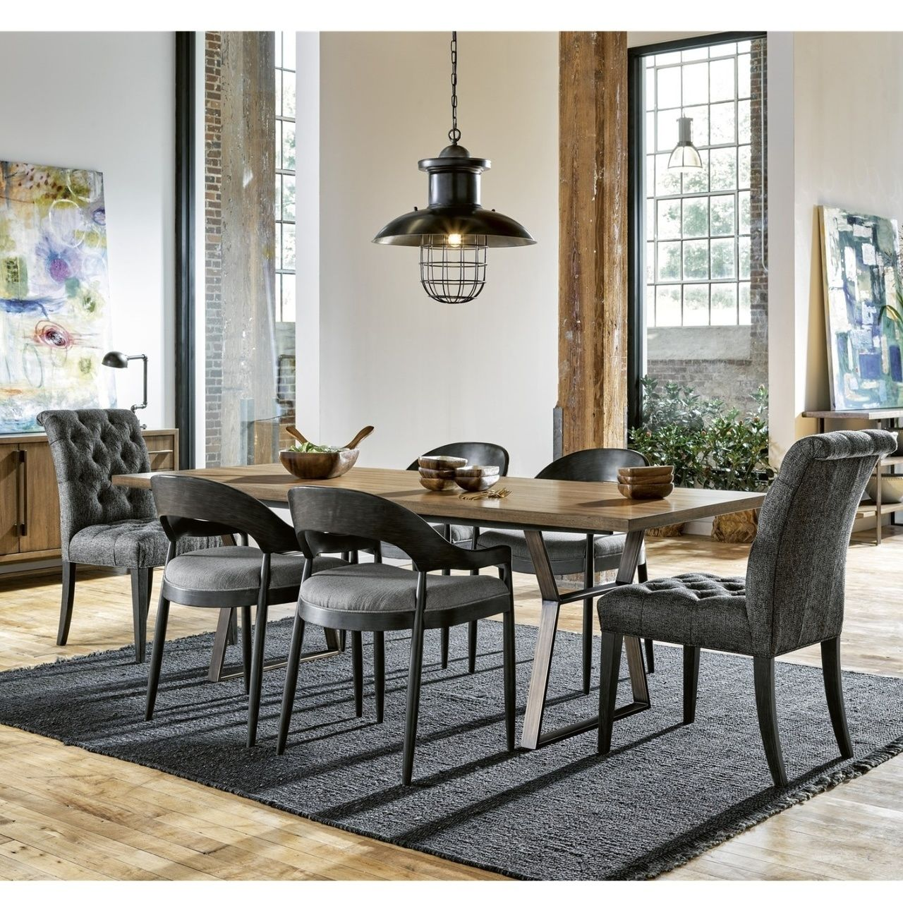 Roland Bronze Metal Wood Industrial Dining Table 92 Dining