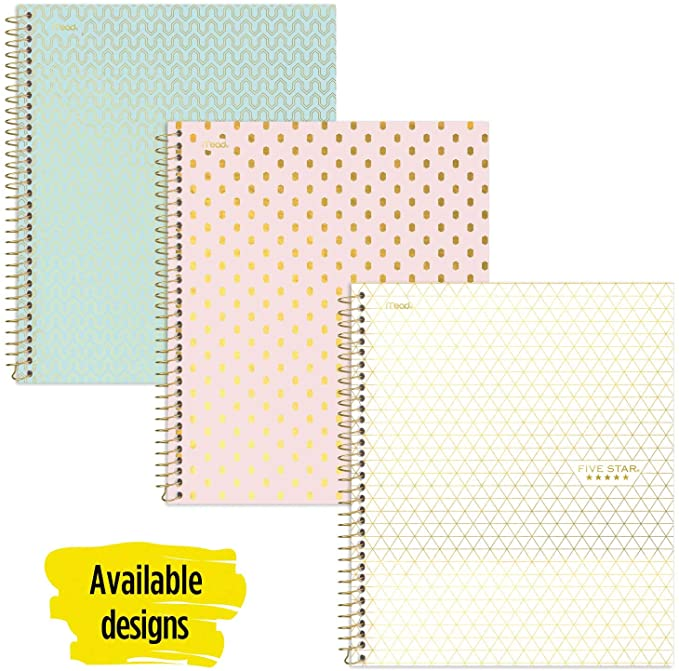 Amazon Com Five Star Spiral Notebook 1 Subject College Ruled Paper 100 Sheets 11 X 8 1 2 Color Sel Cute Spiral Notebooks Ruled Paper Five Star Notebook