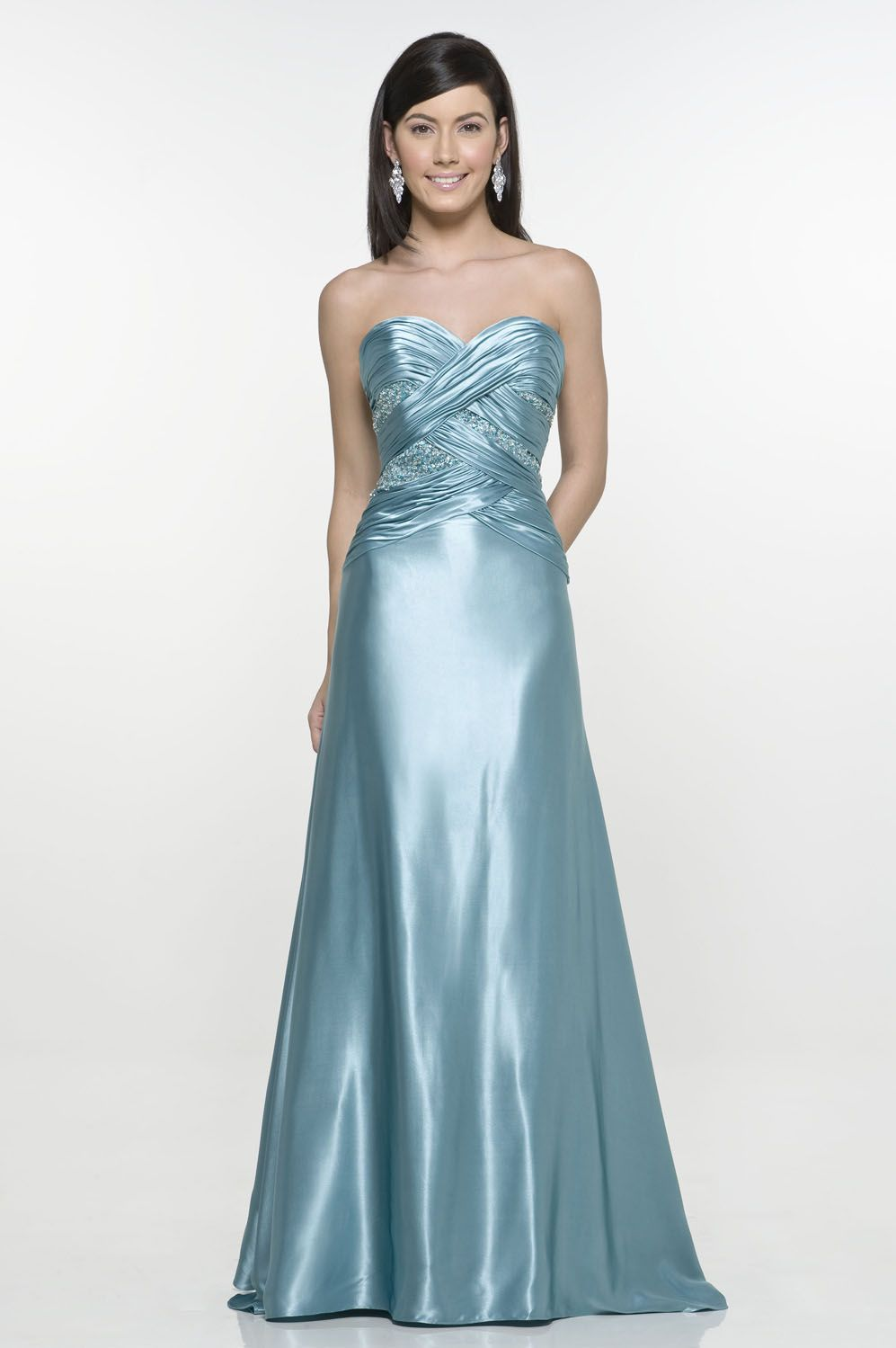 Crossed Ruffle Sweetheart Neckline Enticing Satin Floor Length ...