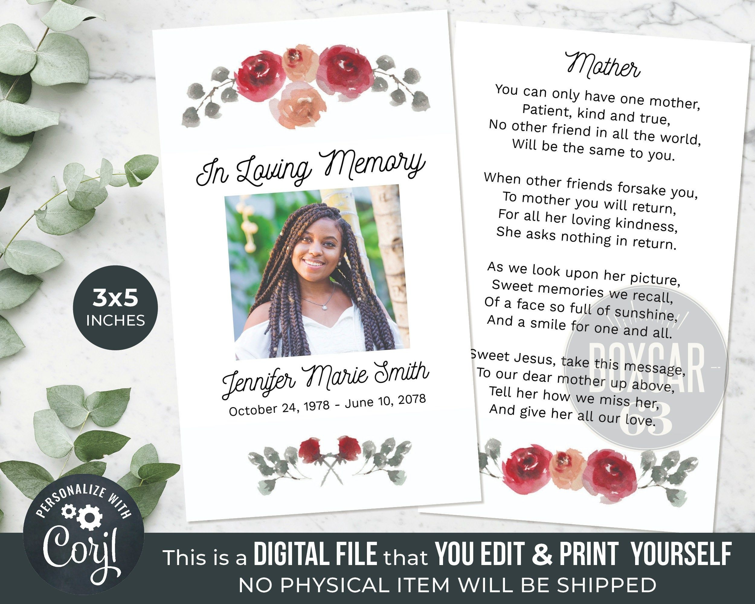 Prayer Card Template Memorial Keepsake Celebration Of Life Etsy Card Template Prayer Cards Memorial Keepsakes