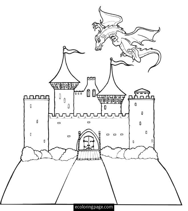 castle-and-flying-dragon-printable-coloring-page | Pohádky | Pinterest