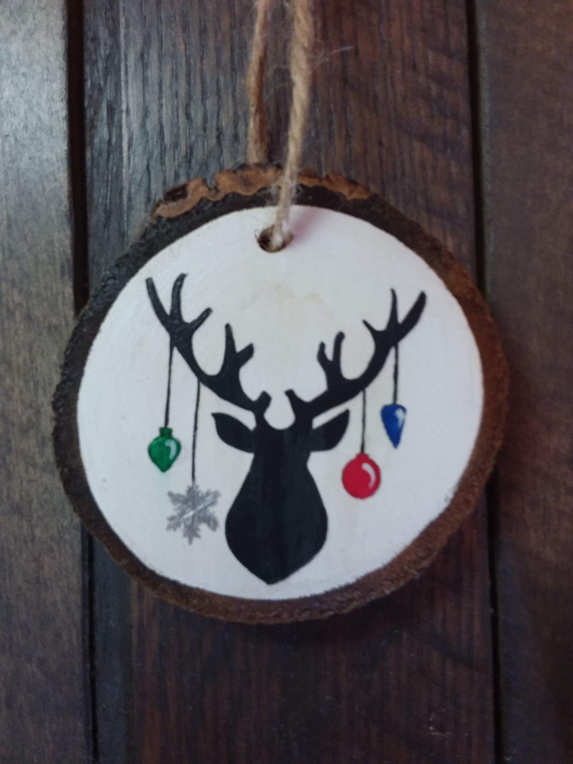 Wood Slice Ornament Buck Silhouette Ornament Deer Christmas Etsy In 2021 Wood Christmas Ornaments Hunting Christmas Ornaments Painted Christmas Ornaments