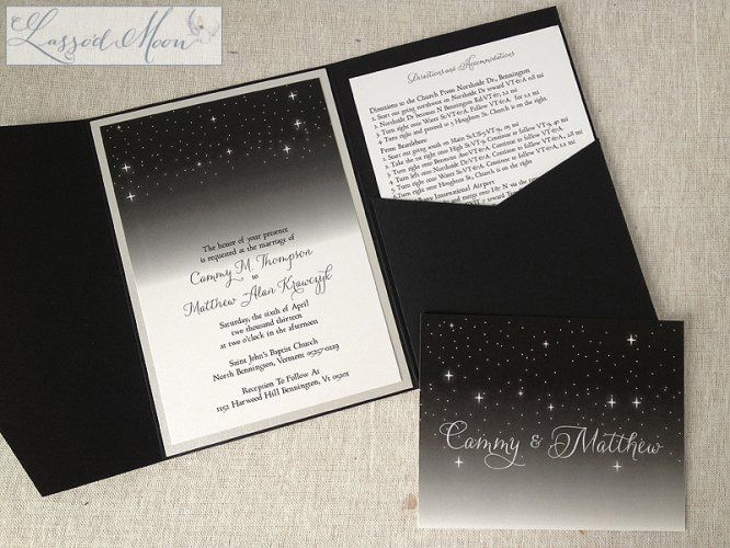 Great A Dark Starry Night Wedding Invitation Tucked Inside A Black Metallic  Pocket Fold® | By Lassou0027d Moon