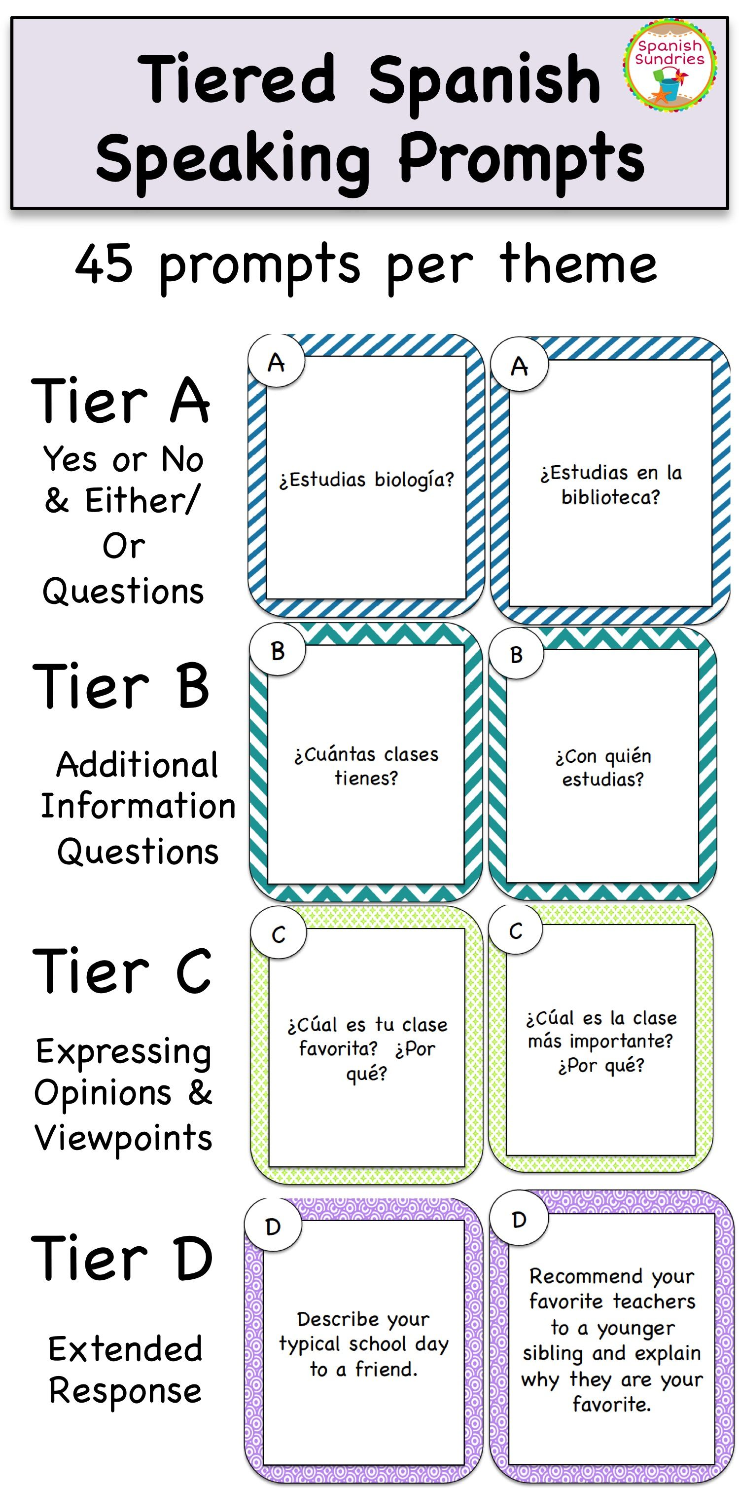 tiered spanish speaking prompts by theme spanish learning tiered spanish speaking prompts by theme