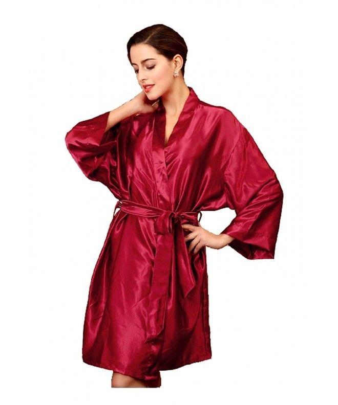 0b3b8f1f0236 Women s Silk Robe Satin Kimono Robes For Bridesmaids Short Sleepwear Sexy -  Burgundy - CS187CCQM9E