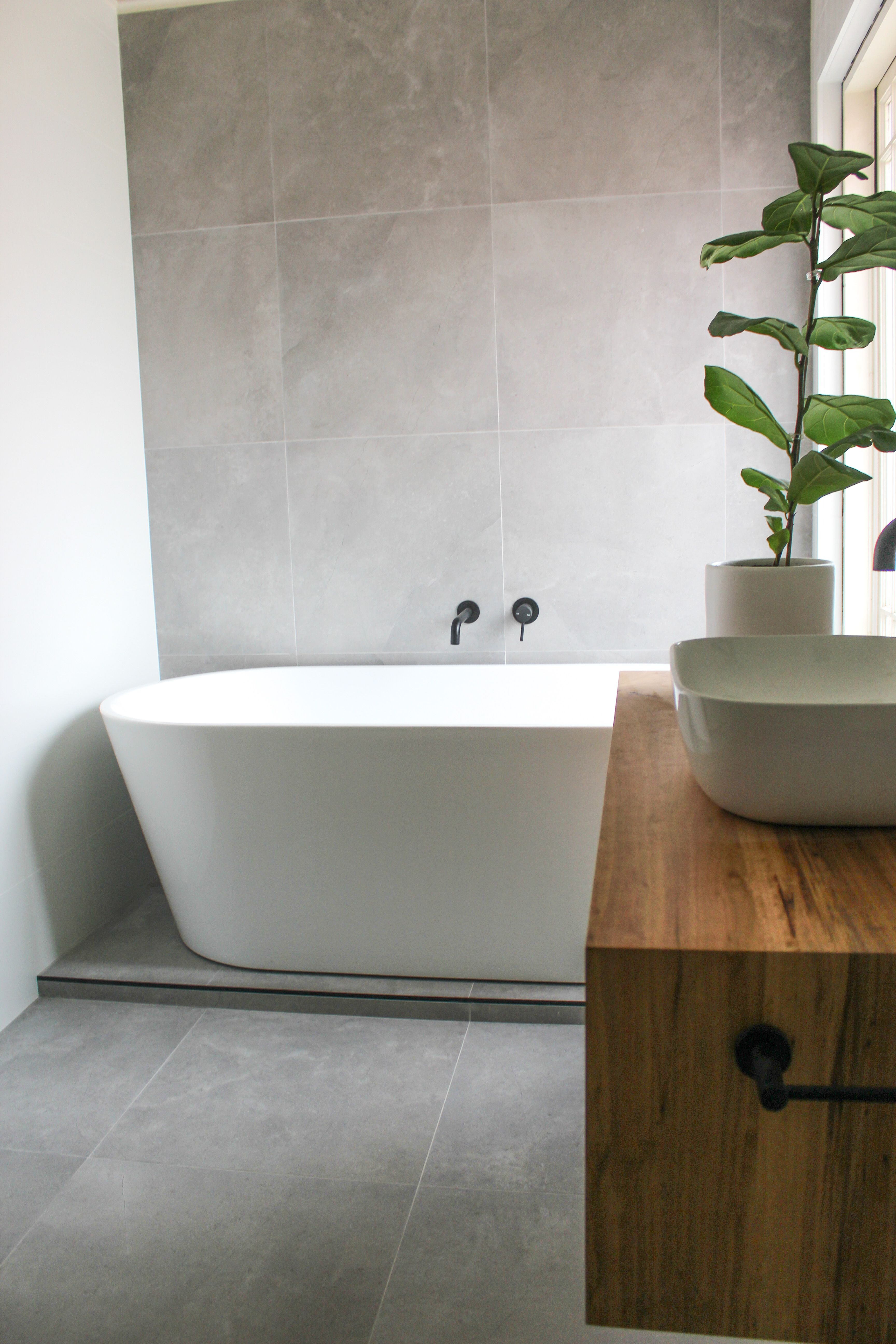 Grey Feature Wall In 2020 Grey Feature Wall Bathroom Freestanding Small Bathroom Renovations