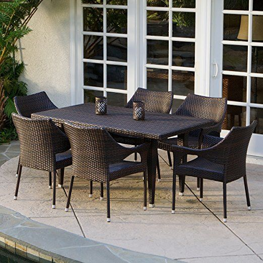 Del Mar Patio Furniture 7 Piece Outdoor Wicker Dining Set With Stacking Chairs