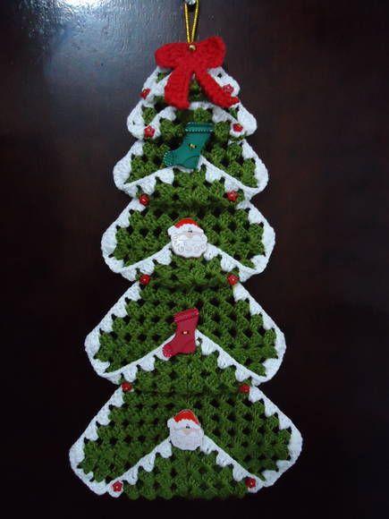Pronta Entrega Enfeite De Porta Arvore De Natal Em Croche Feito