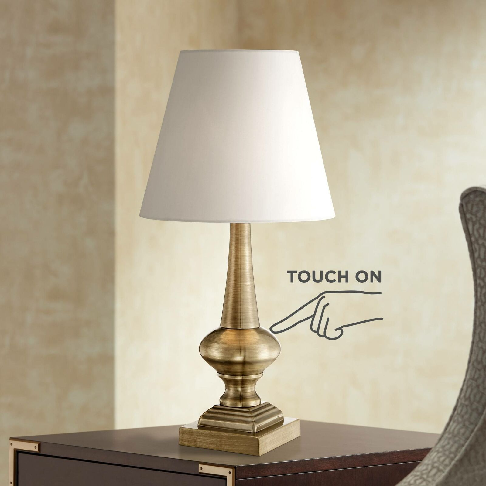 Details About Traditional Table Lamp Antique Brass Touch On White Shade For Living Room Desk Traditional Table Lamps Table Lamp Lamp