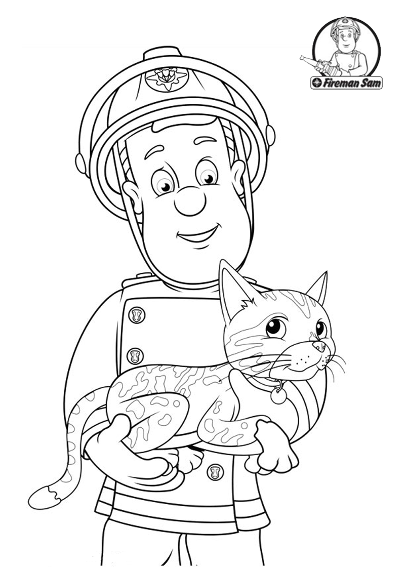 Fireman Sam Helping The Cat Fireman Sam Coloring Pages Pinterest
