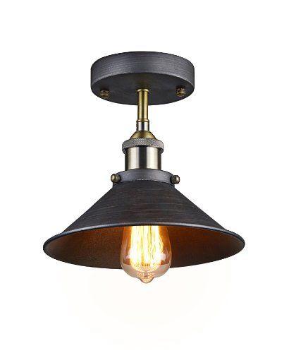 Ecopower Industrial Antique Mini Edison Ceiling Light 1-Light,Aged ...
