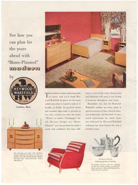 Vintage 1940s Heywood Wakefield Furniture Magazine Print Ad Firth Carpet  Advertising