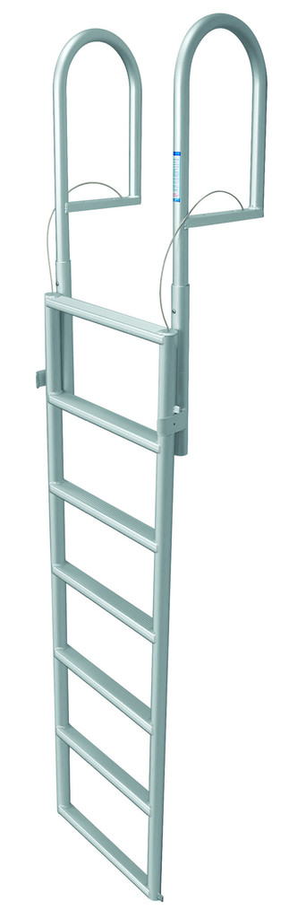 Seven Step Lift Retractable Dock Ladder. JIF Marine ladder (part #DJX7) is constructed from anodized aluminum tubing for amazing support strength & protection from rust.