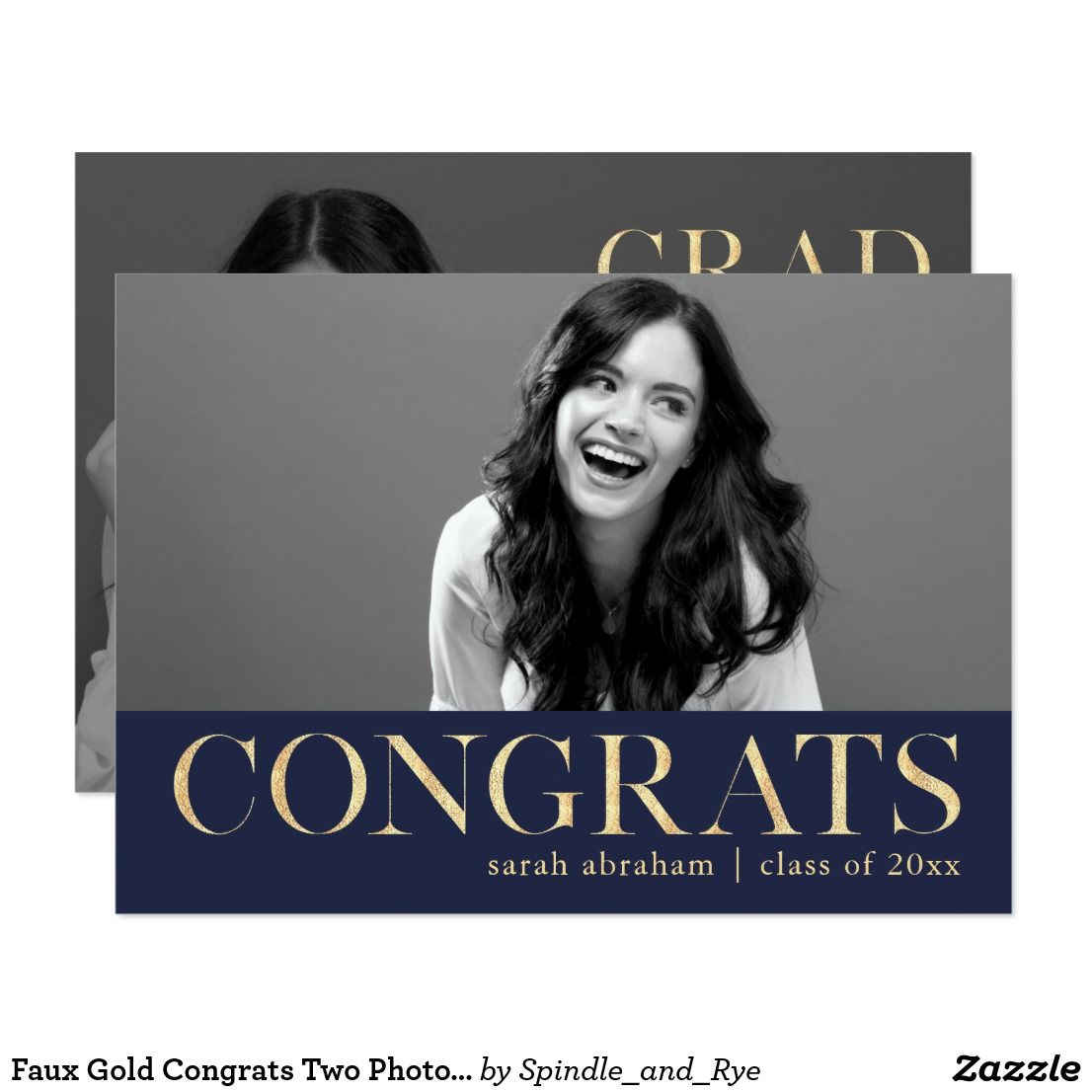 Faux Gold Congrats Two Photo Graduation Party Card | Party invitations
