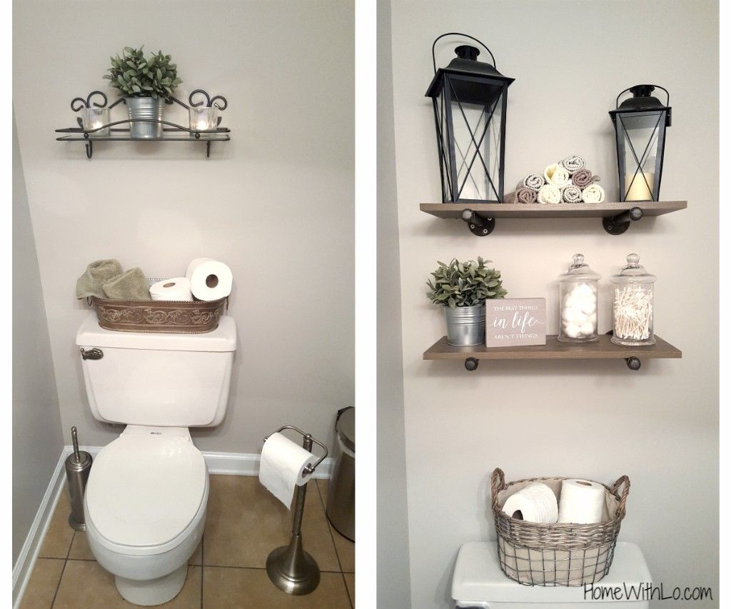 Before and after Modern Farmhouse bathroom decor. More
