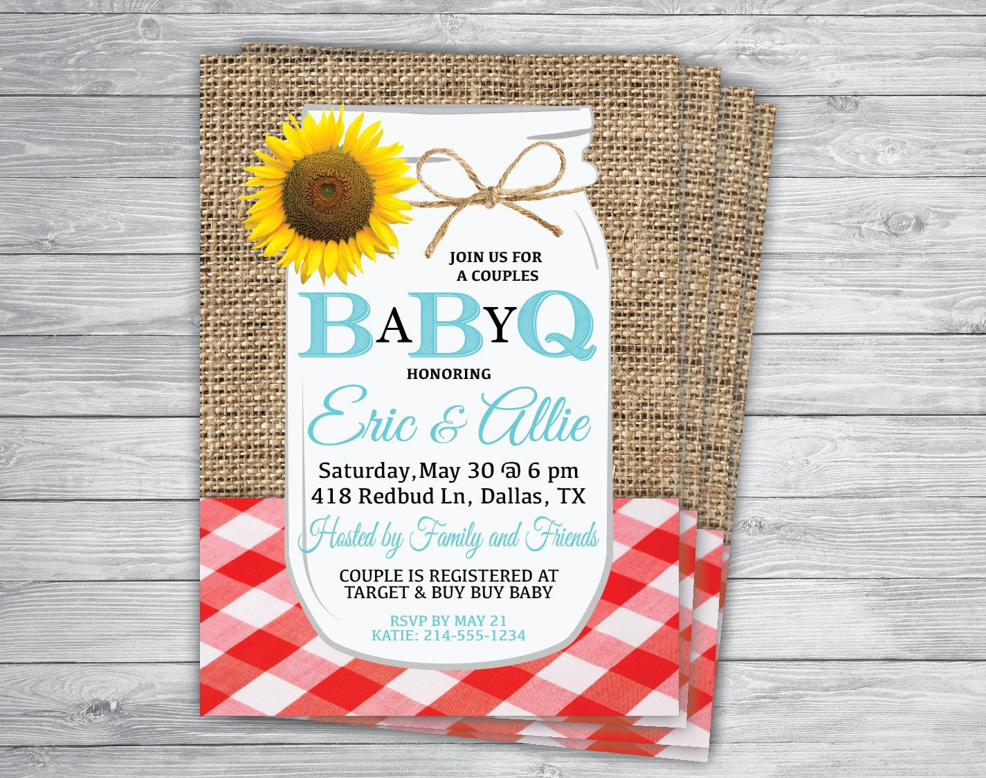 BABY Q BBQ Gingham Shower Country Mason Jar Burlap Sunflower Rustic Burlap  Vintage Engagement Rehearsal Barbecue