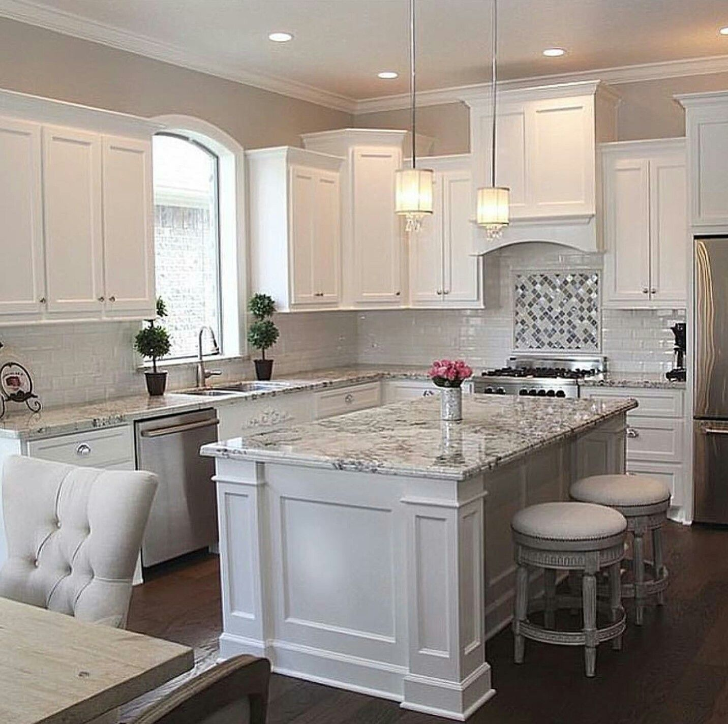 White Cabinets Stainless Steel