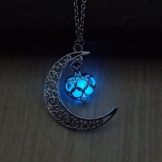1PC Glowing Crescent Moon Necklace Heart Jewelry Glowing Orb Necklace glow in the dark necklace Halloween jewelry halloween gift
