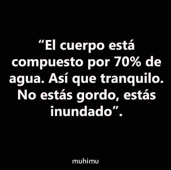"""""""El cuerpo está compuesto por 70% de agua. Así que tranquilo. No estás gordo, estás inundado"""" jajajaj #unpocodehumor"""