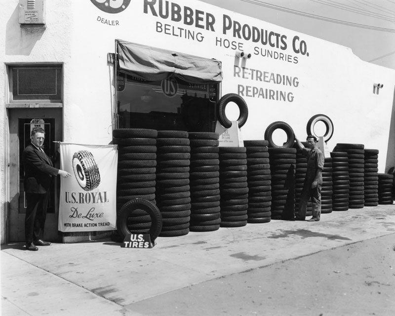 U.S. Tires Shop. 1941. Old garage, Tyre shop, Gas station