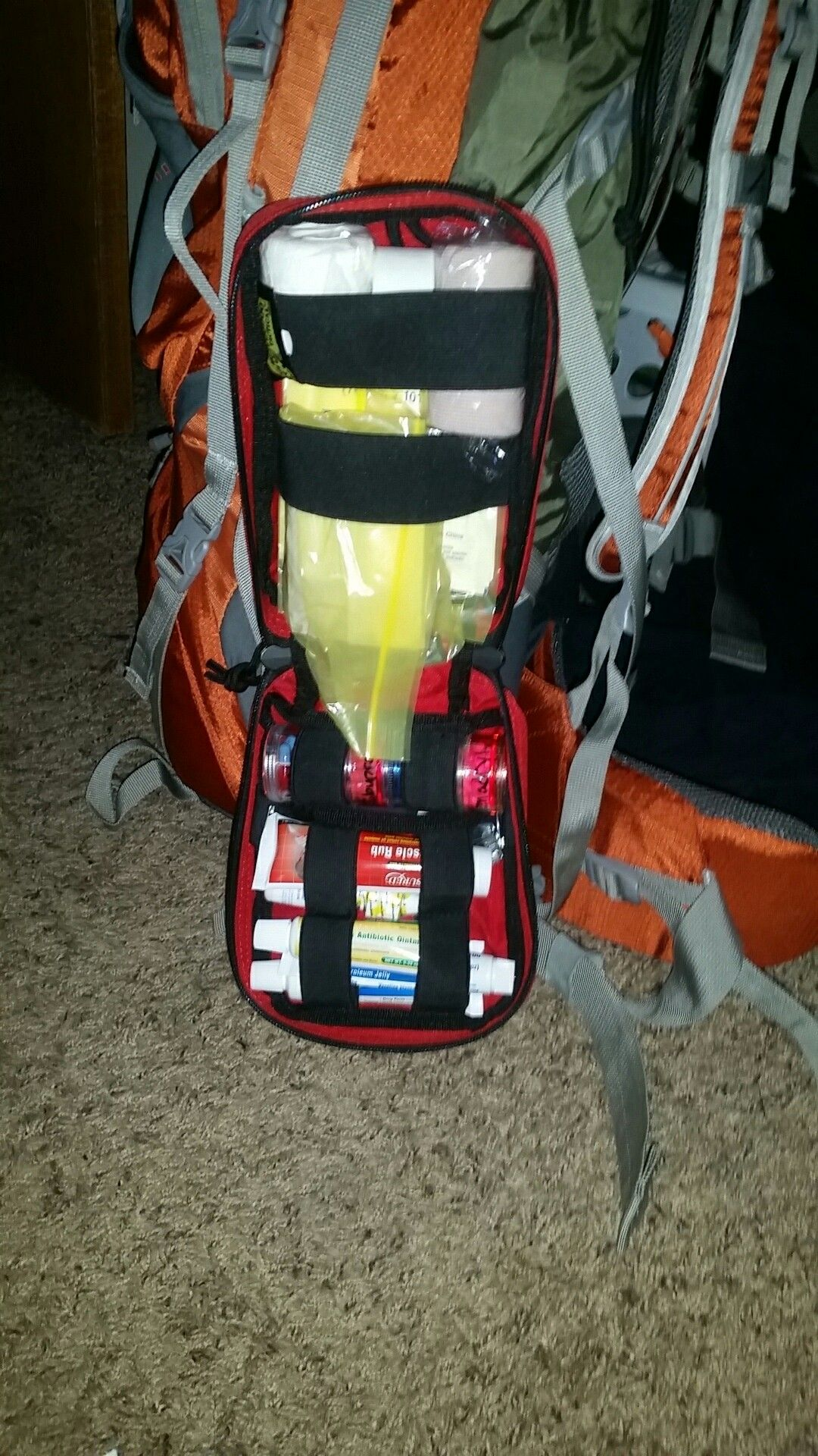 Inside of backpacking first aid kit