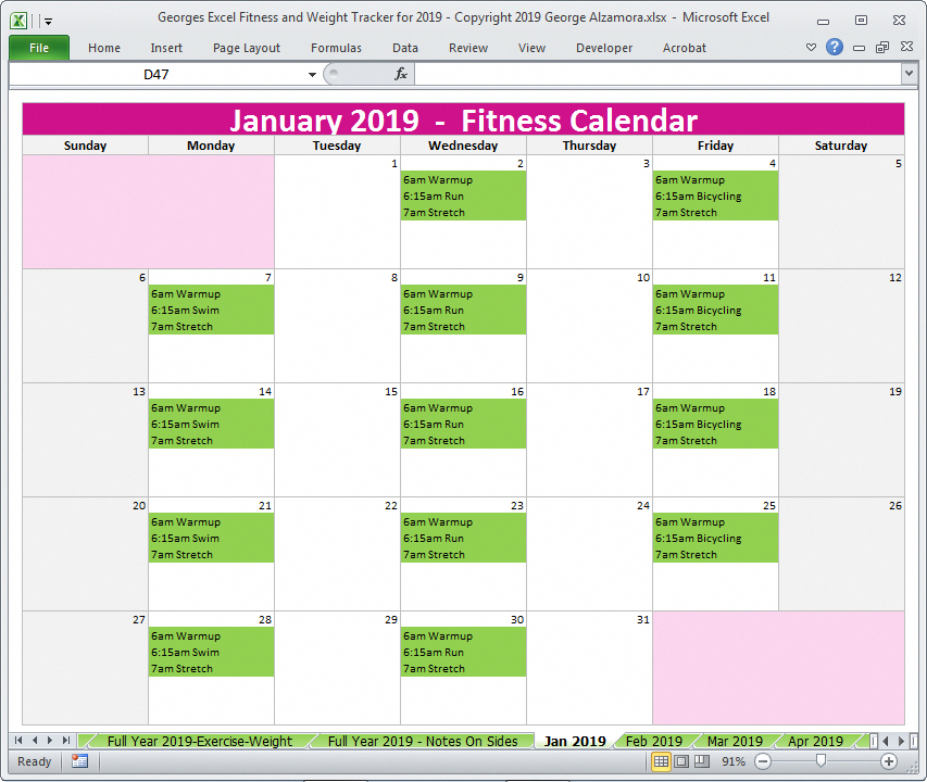 2019 Monthly Exercise Planner Excel Templates Fitnessplanner