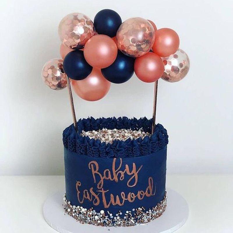 BALLON CAKE TOPPER Or Rose Confettis Anniversaire Mariage Fête Arc Garland