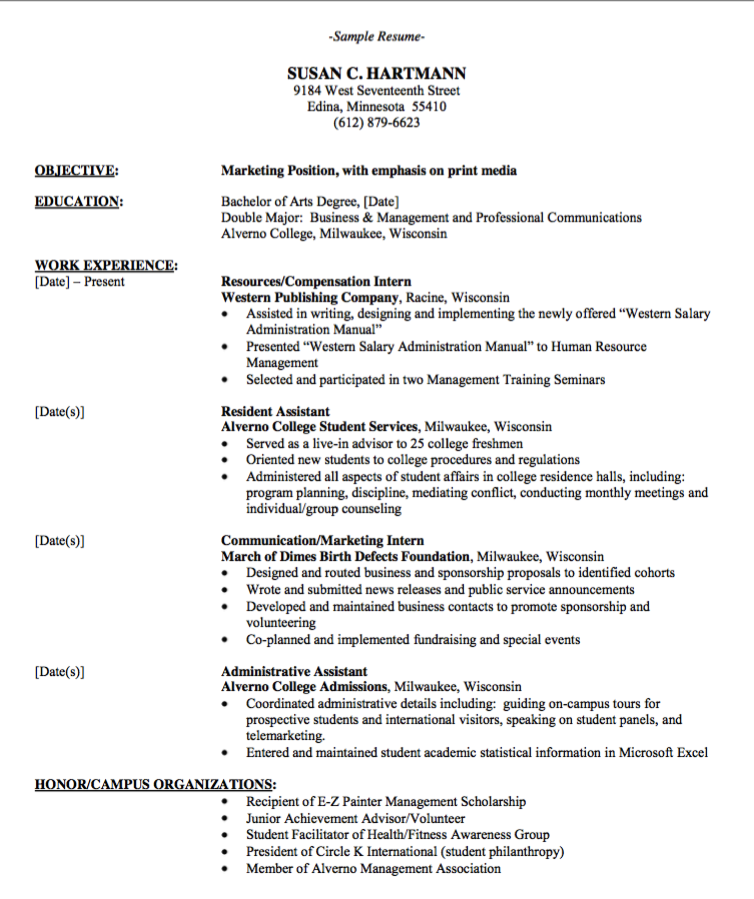 Marketing Position Resume Format  HttpExampleresumecvOrg