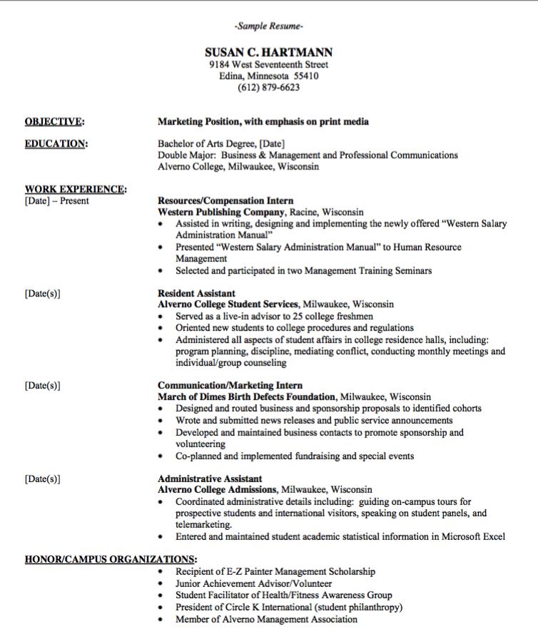 Marketing Position Resume Format Examples Resume Cv