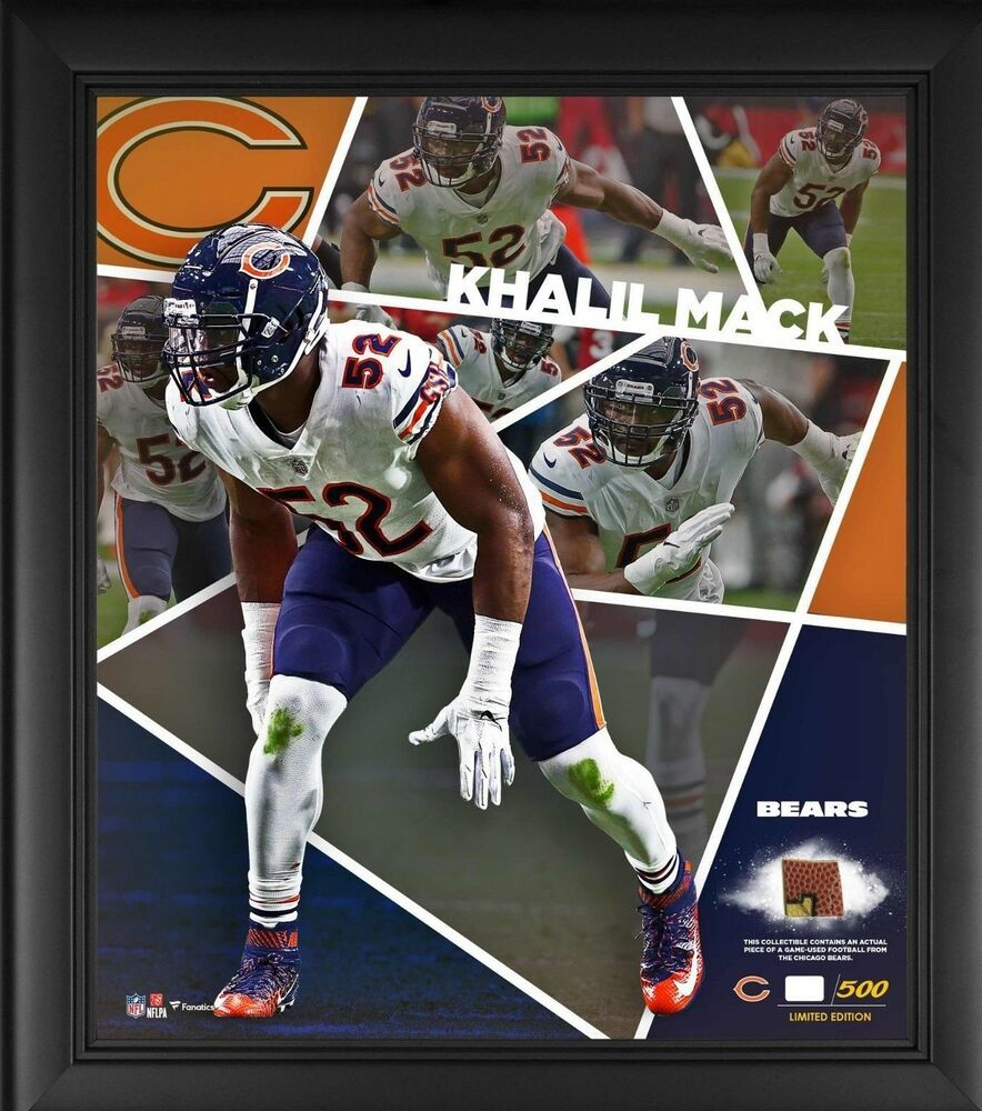 Khalil Mack Bears Impact Player Collage A Piece Of Gameused Ball 45 Of Only 500 Fanatics Chicagobear In 2020 Chicago Bears Chicago Bears Game Chicago Bears Football